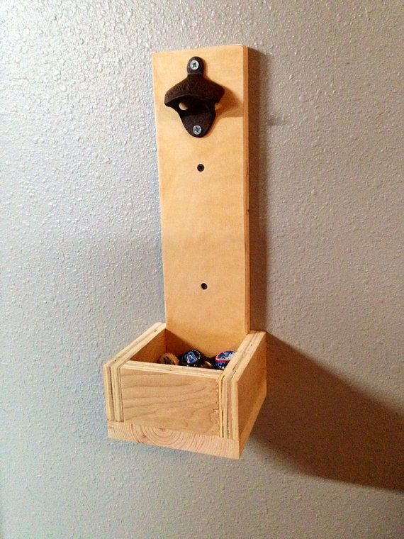 wood wall mounted bottle opener with catcher. Black Bedroom Furniture Sets. Home Design Ideas