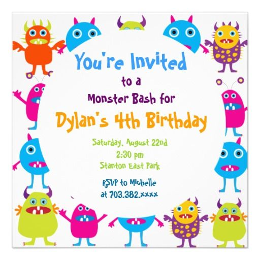 Cute Monster Birthday Party Invitation Templates SOLD on Zazzle