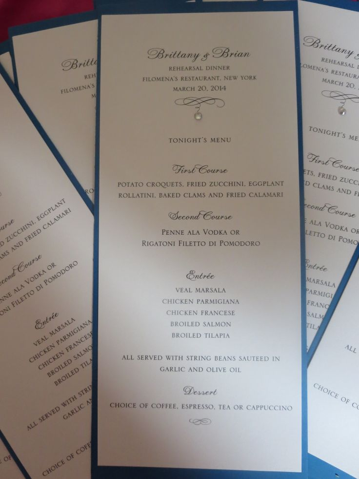 Diy rehearsal dinner menu diy and crafts pinterest for Ideas for dinner menu