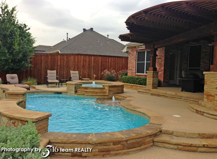 Tiered Backyard With Pool :  07jpg Backyard pool with covered cedar patio and tiered deck