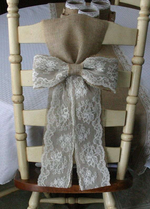 Items similar to Burlap pew bows for chairs, burlap wedding decor, Bride and Groom table, on Etsy