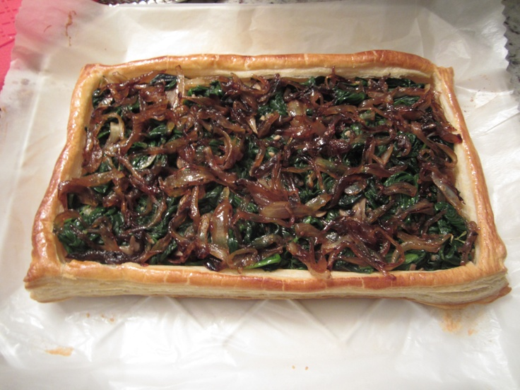 How it looks in real life: Mushroom, Spinach, and Scallion Tart