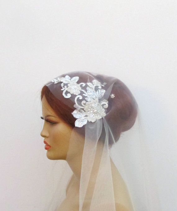 champagne gold bridal cap veil vintage inspired lace wedding accessor