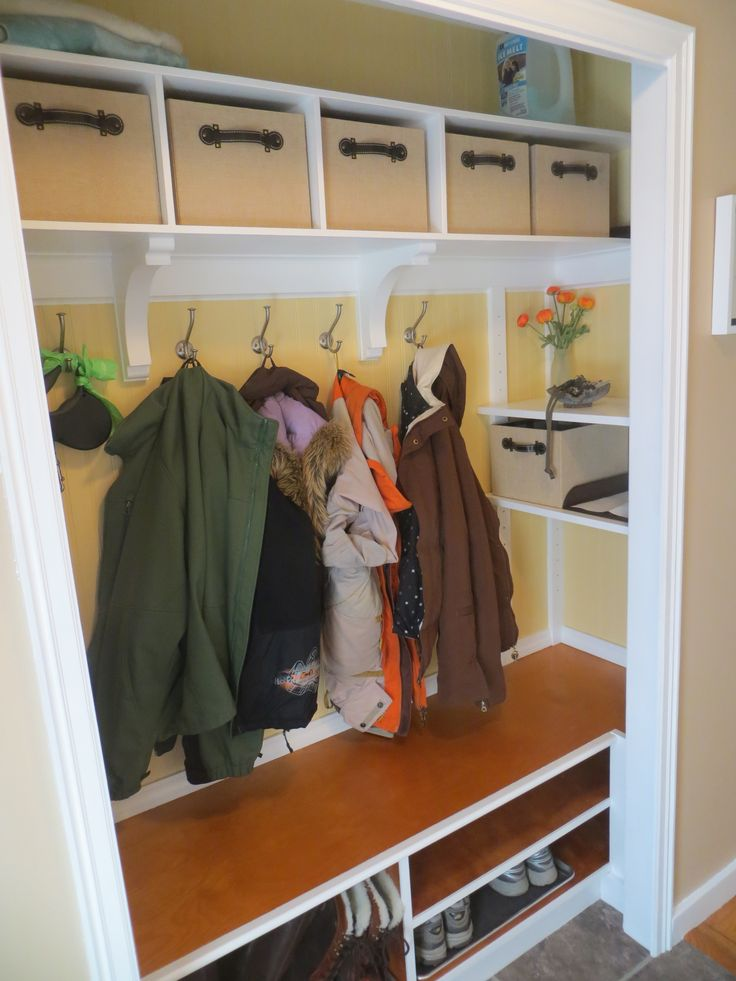 Coat Closet Makeover Mudroom Entry Closet Ideas Pinterest