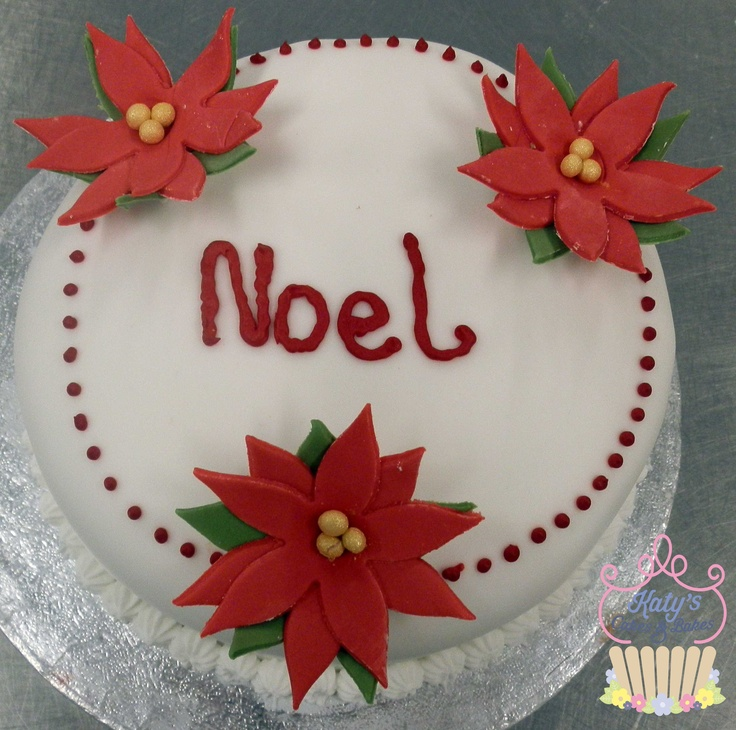 Christmas Cake Decoration Ideas Pinterest : Poinsetta Christmas Cake Cake Decorating Pinterest