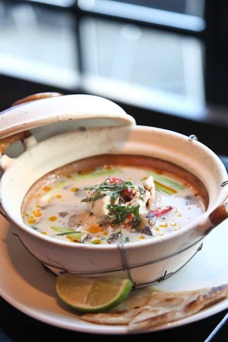 Tom Kha Gai Soup: Chicken, cocnut broth, mushrooms, chilis ...