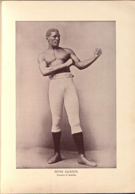 Peter Jackson, in Portrait gallery of pugilists of America and their contemporaries (1894), following p. 8.