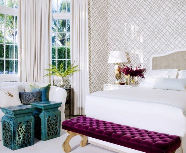 modern chic white beige purple turquoise bedroom