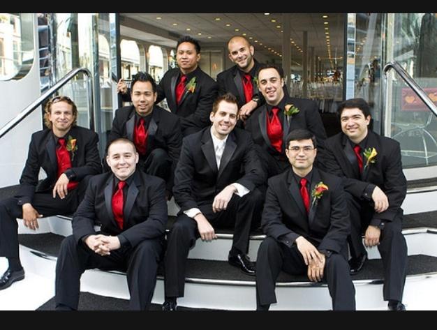groomsmen black/red