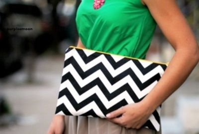 Love the bold chevron print clutch with a bright top