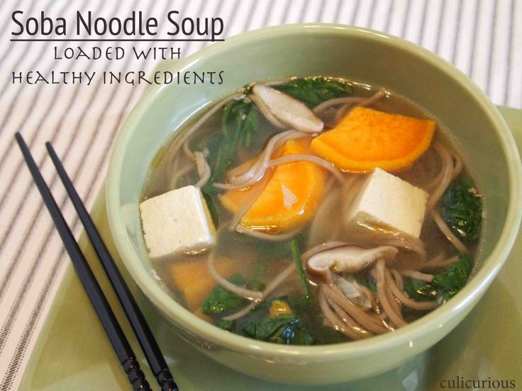 Soba noodle soup with spinach, sweet potatoes and tofu