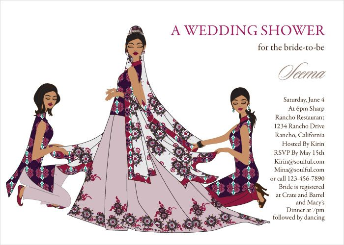 Bridal Party Divas Indian Bridal Shower Invitations by #Soulfulmoon