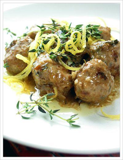 pork meatballs with lemon and thyme | Yummmmmm | Pinterest