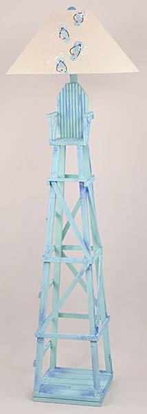 blue coastal lifeguard chair floor lamp from newport nautical decor. Black Bedroom Furniture Sets. Home Design Ideas