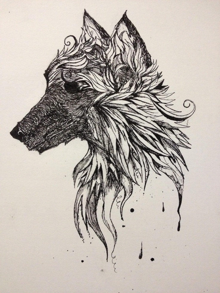 Wolf dipped ink pen calligraphy pen sketches tattoo Drawing with calligraphy pens