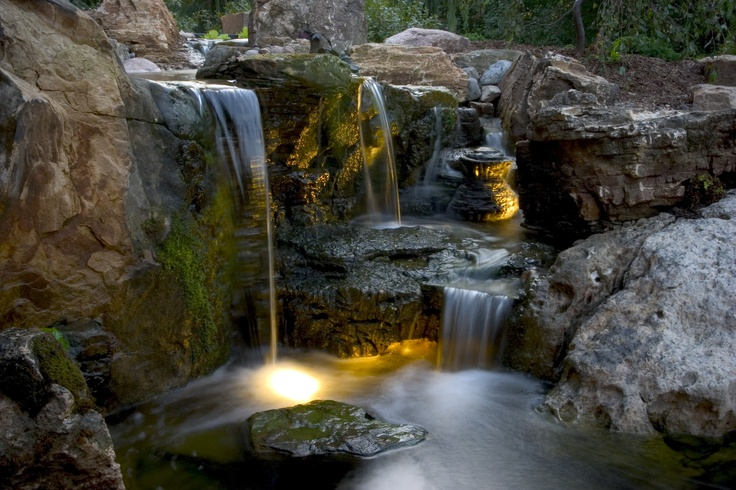 Aquascapes Waterfall And Lighting Pond And Water Feature Design Ide