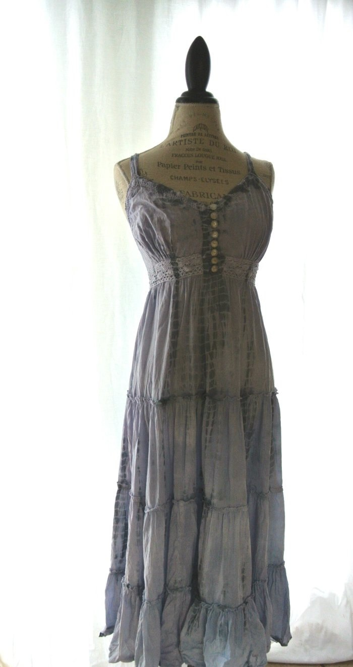 Gypsy cowgirl Slip Dress romantic boho Farm by TrueRebelClothing. $72.00, via Etsy.