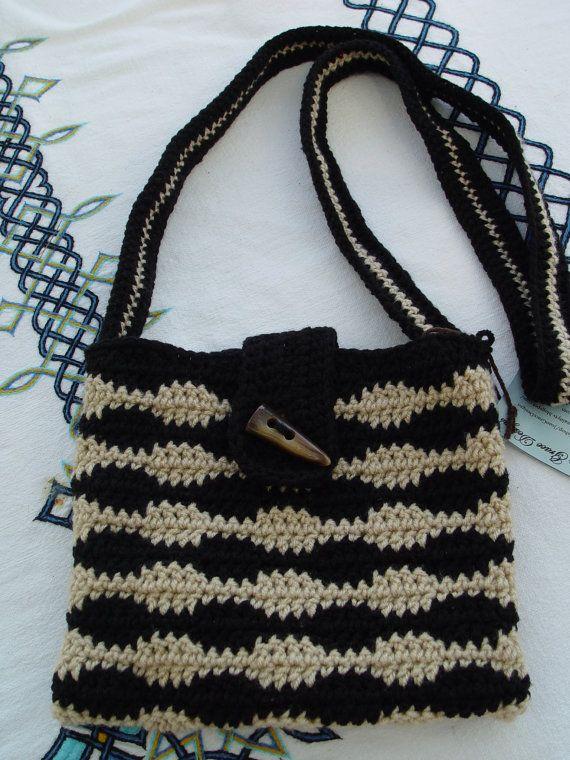 Crochet Cross Body Bag Pattern : Black and Beige crochet Cross Body Bag by JoanGraceDesigns on Etsy, $ ...