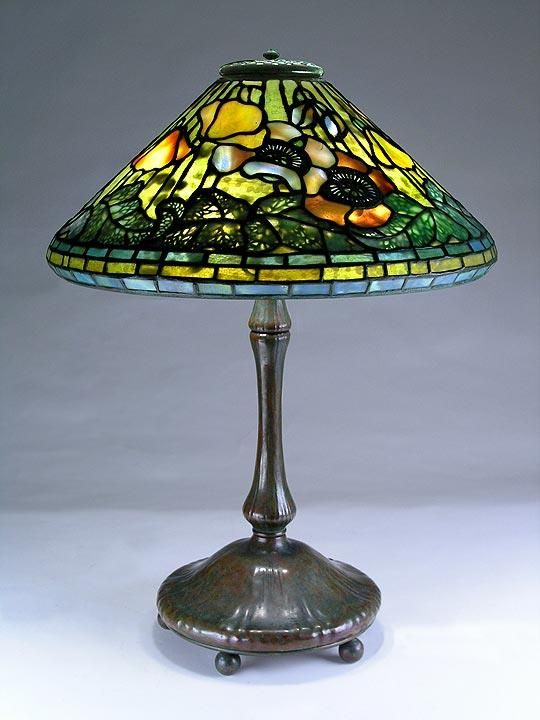 ... studios new york favrile leaded glass and patinated bronze poppy lamp