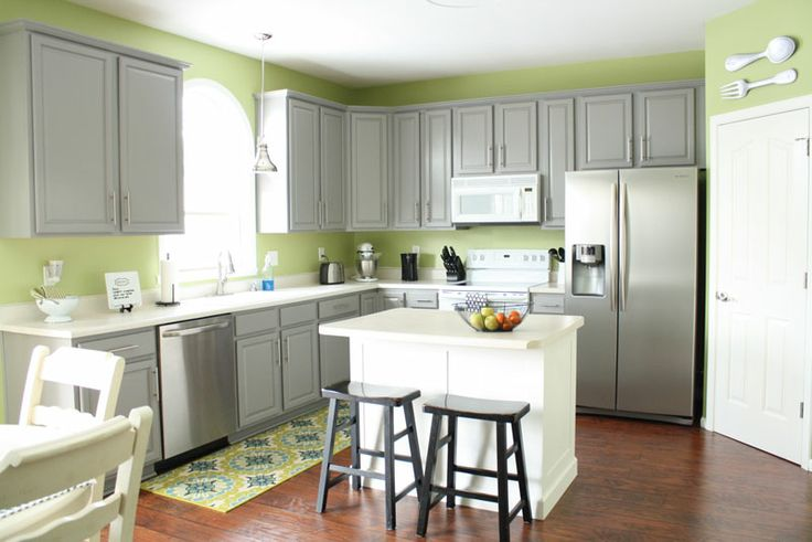 Grey cabinets green walls kitchen pinterest for Grey green kitchen cabinets