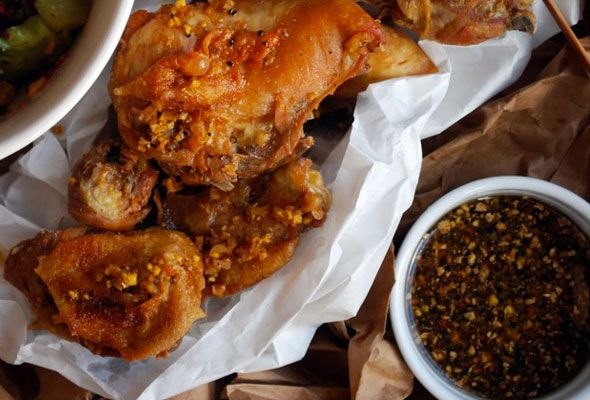 Momofuku's Fried Chicken and Octo Vinaigrette...brine, steam and fry ...