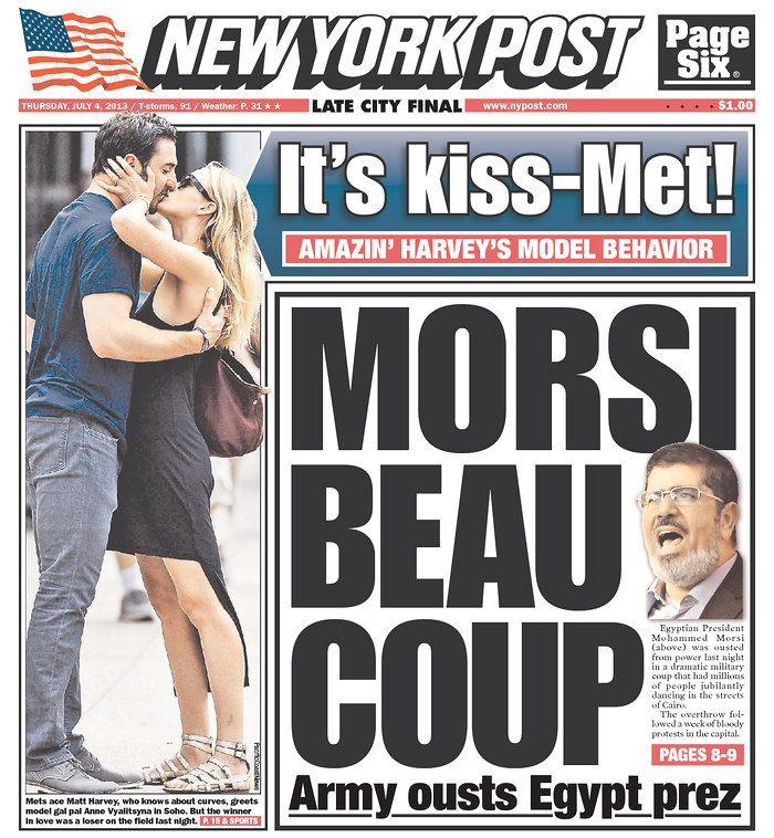 "New York Post leads with Egypt: ""MORSI BEAU COUP"""