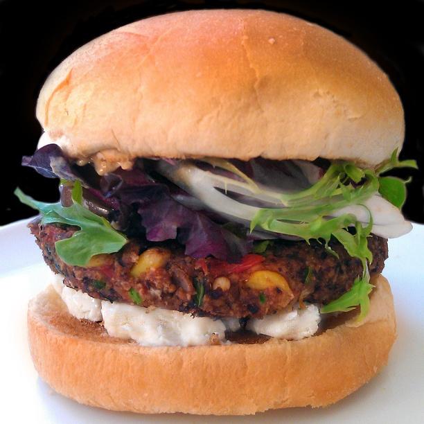 black bean burger whole black big by Snowshoe Rabbit, via Flickr