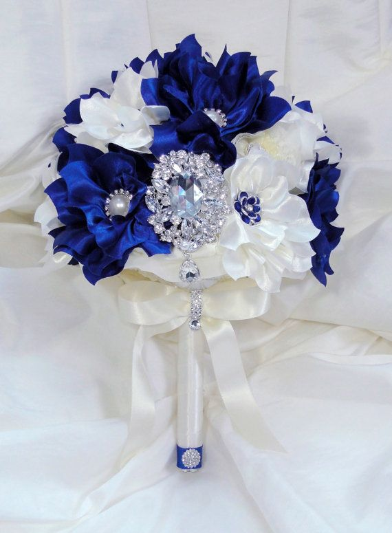 Royal Blue And Ivory Wedding Bouquets : Bridal brooch wedding bouquet royal sapphire blue and