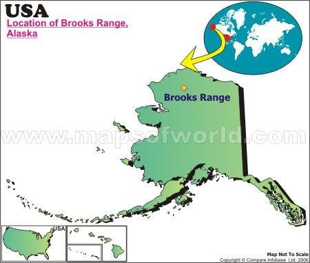 North America Map Canada Brooks Range  Brooks Range