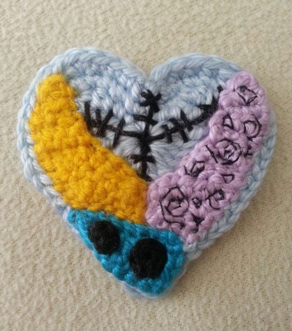 Sally Crochet Heart Hair Clip or Pin