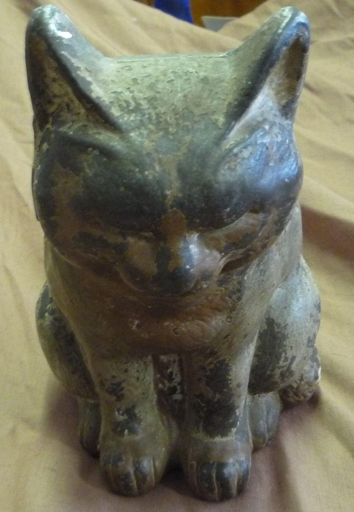 Original antique cast iron hubley sleeping cat doorstop - Cast iron cat doorstop ...