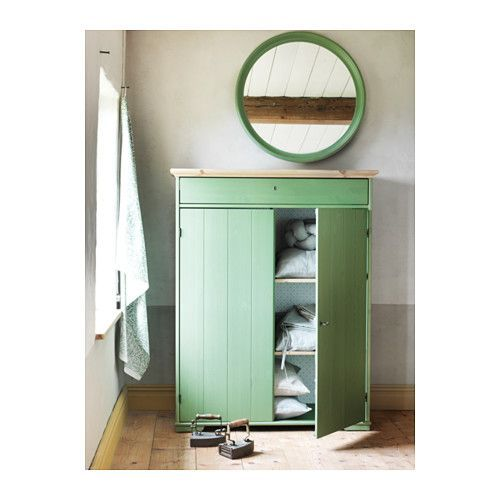 love the simple fresh green and white hurdal linen cabinet ikea