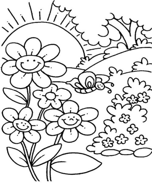 Flower garden coloring pages sketch coloring page for Flower garden coloring page