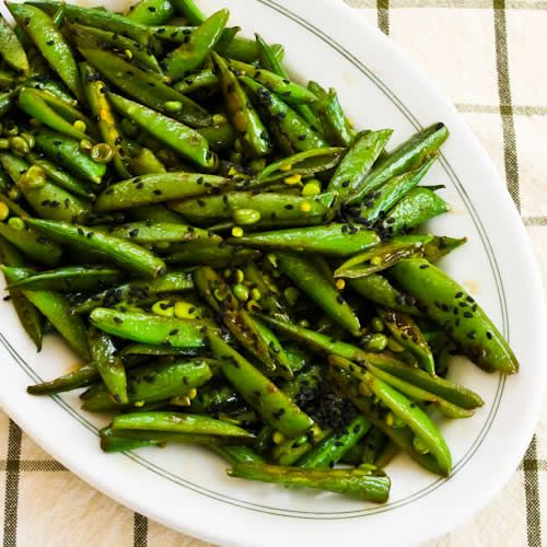 Kalyn's Kitchen: Recipe for Spicy Stir-Fried Sugar Snap Peas with Soy Sauce, Sesame Oil, and Sriracha