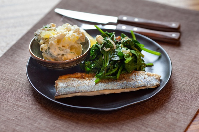Trout with Creamy Potato Salad & Wilted Spinach. Visit http://www ...