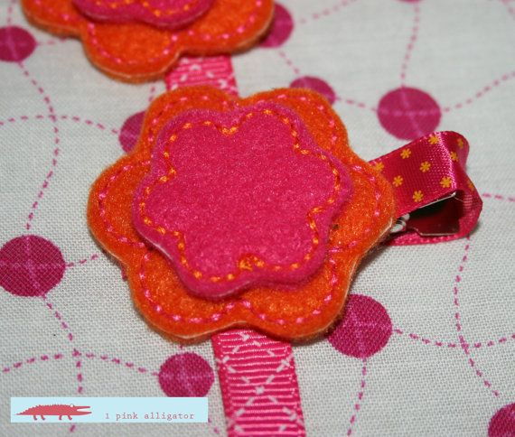 ... Clip adorned with stacked felt flowers by 1pinkalligator, $3.25