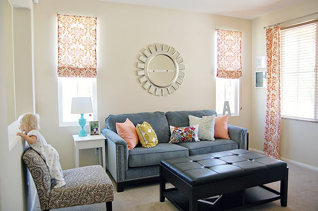 Curtains mixed with roman shades new house pinterest