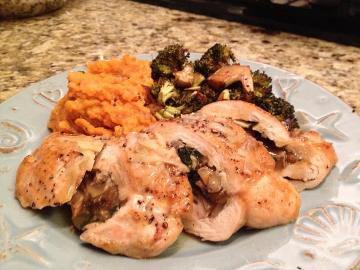 ... , Parmesan Stuffed Chicken, Roasted Broccoli, Sweet Potato Mash