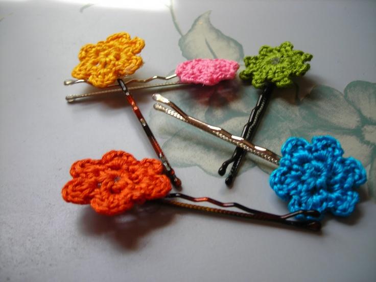crochet flower clips flowers, flowers, flowers! Pinterest