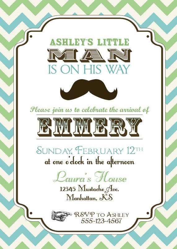 Vintage Little Man Mustache Baby Shower Invitation. $15.00, via Etsy.