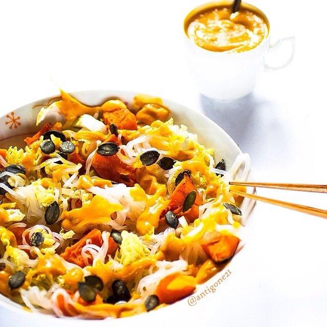 glutenfree rice noodles + roasted kabocha + napa cabbage ...