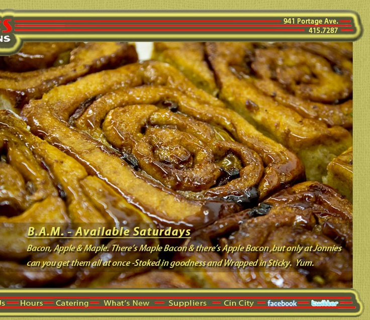 ... BAM at Jonnies Sticky Buns, Winnipeg. Mmm...bacon mixed with maple