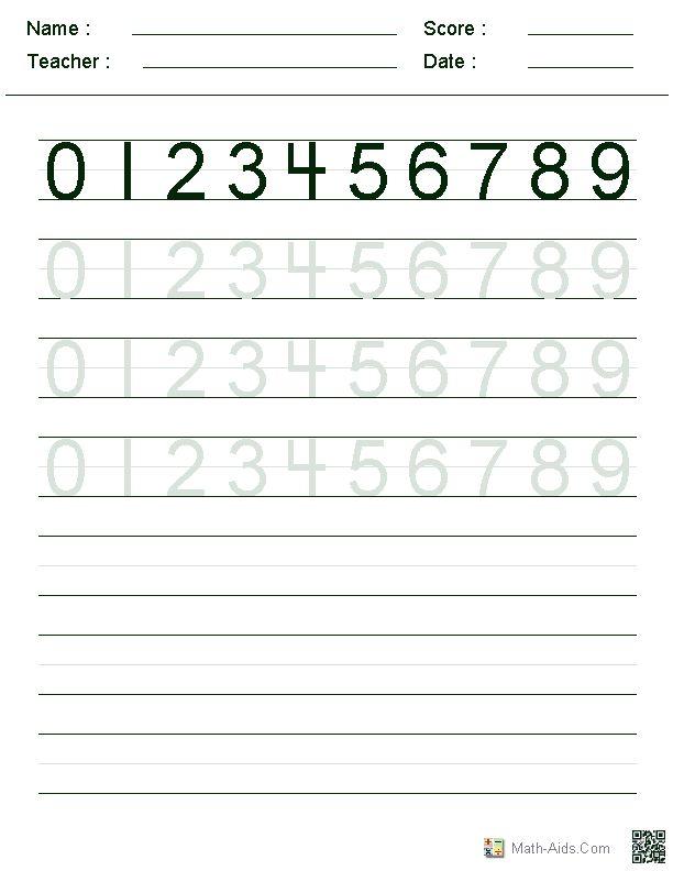 writing numbers worksheets kindergarten