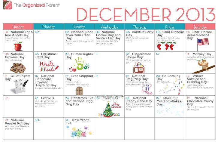 December 2013 Wacky Holidays Calendar | Holiday Happiness | Pinterest