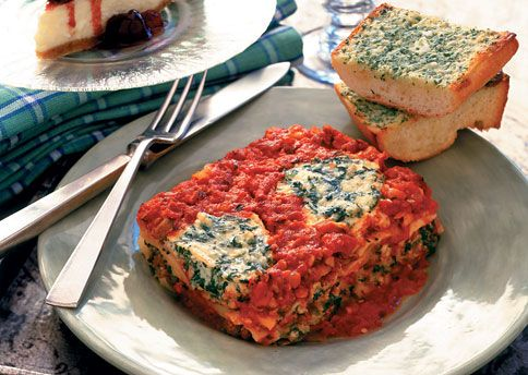 Turkey Sausage-Spinach Lasagna with Spicy Tomato Sauce (I love to ...