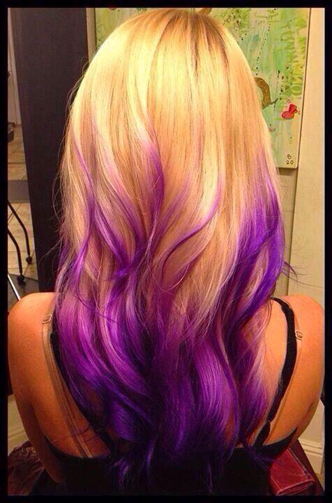 Blonde hair purple tips