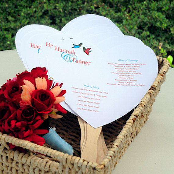 50 DIY Heart Shaped Wedding Fans Program Fans Do It Yourself Kit C