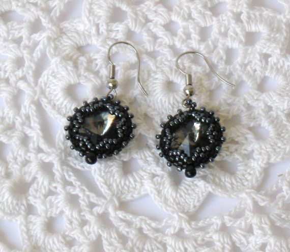 Black Diamond Rivoli Beadwoven Earrings OOAK by Reginao on Etsy, $30.00