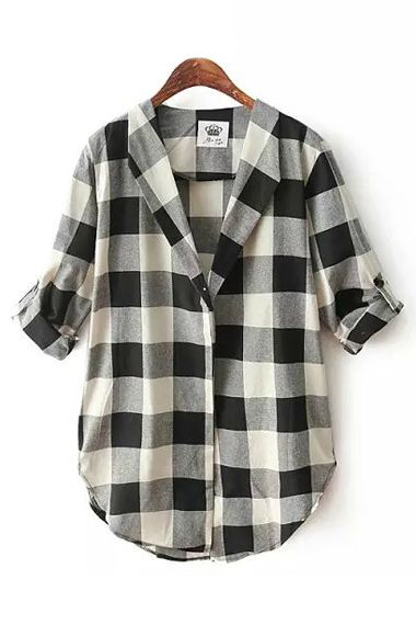 Womens Black And White Checked Blouse 57