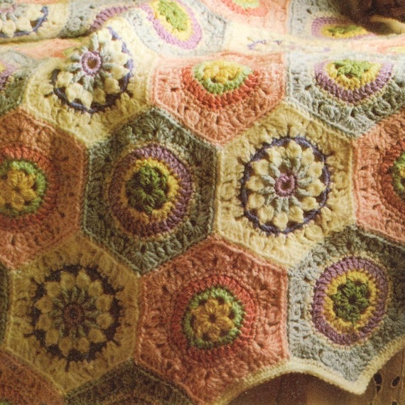 Antique Crochet Patterns : Vintage Crochet Pattern 224 PDF Afghan Pattern from WonkyZebra